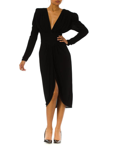 1980s Minimal Black Long Sleeve Draped Long Dress