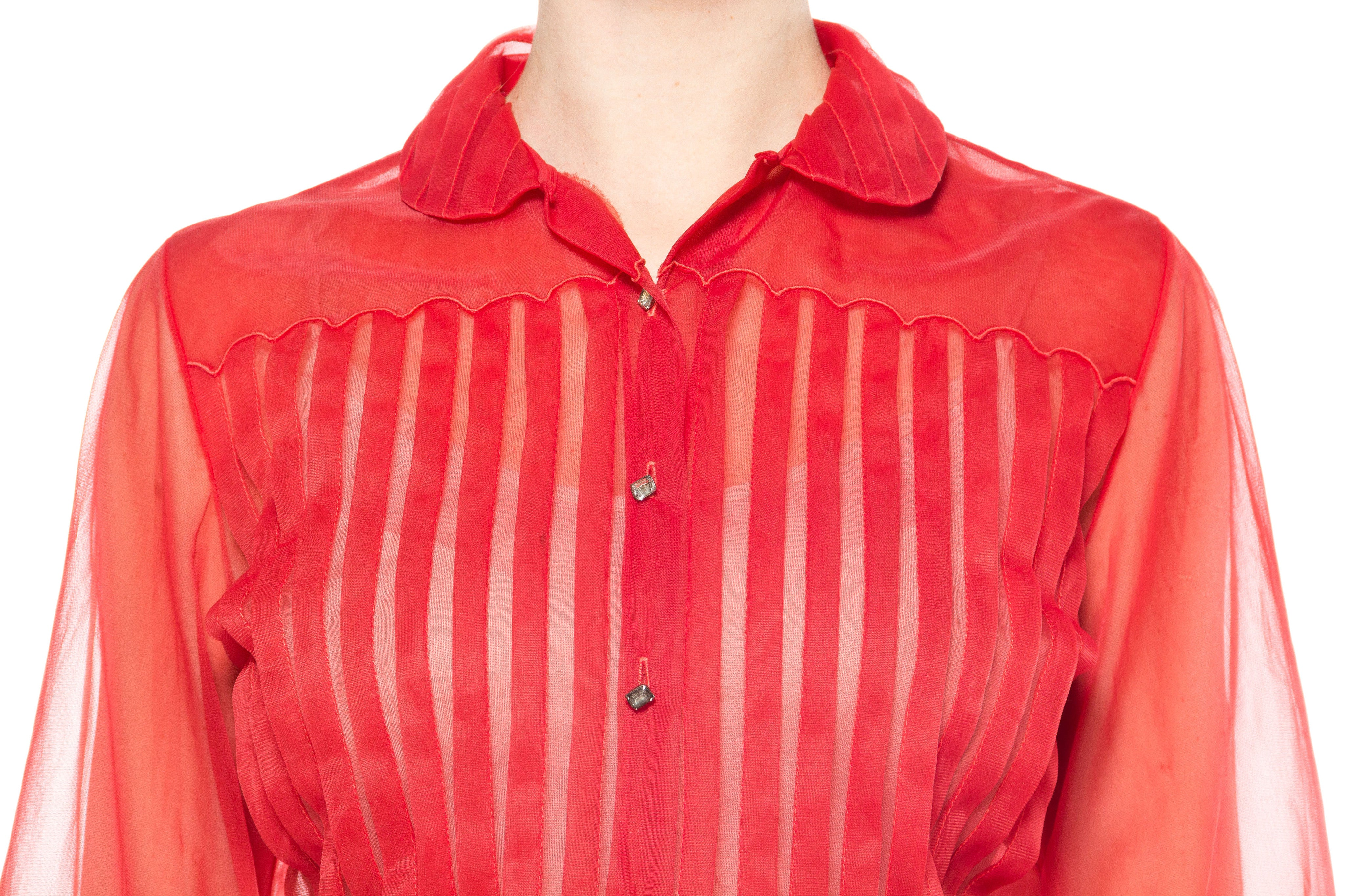1950S Red Nylon Pleated Sheer Blouse With Rhinestone Buttons