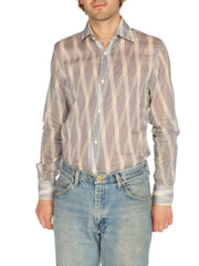 1970s Gucci Sheer Diagonal Striped Shirt