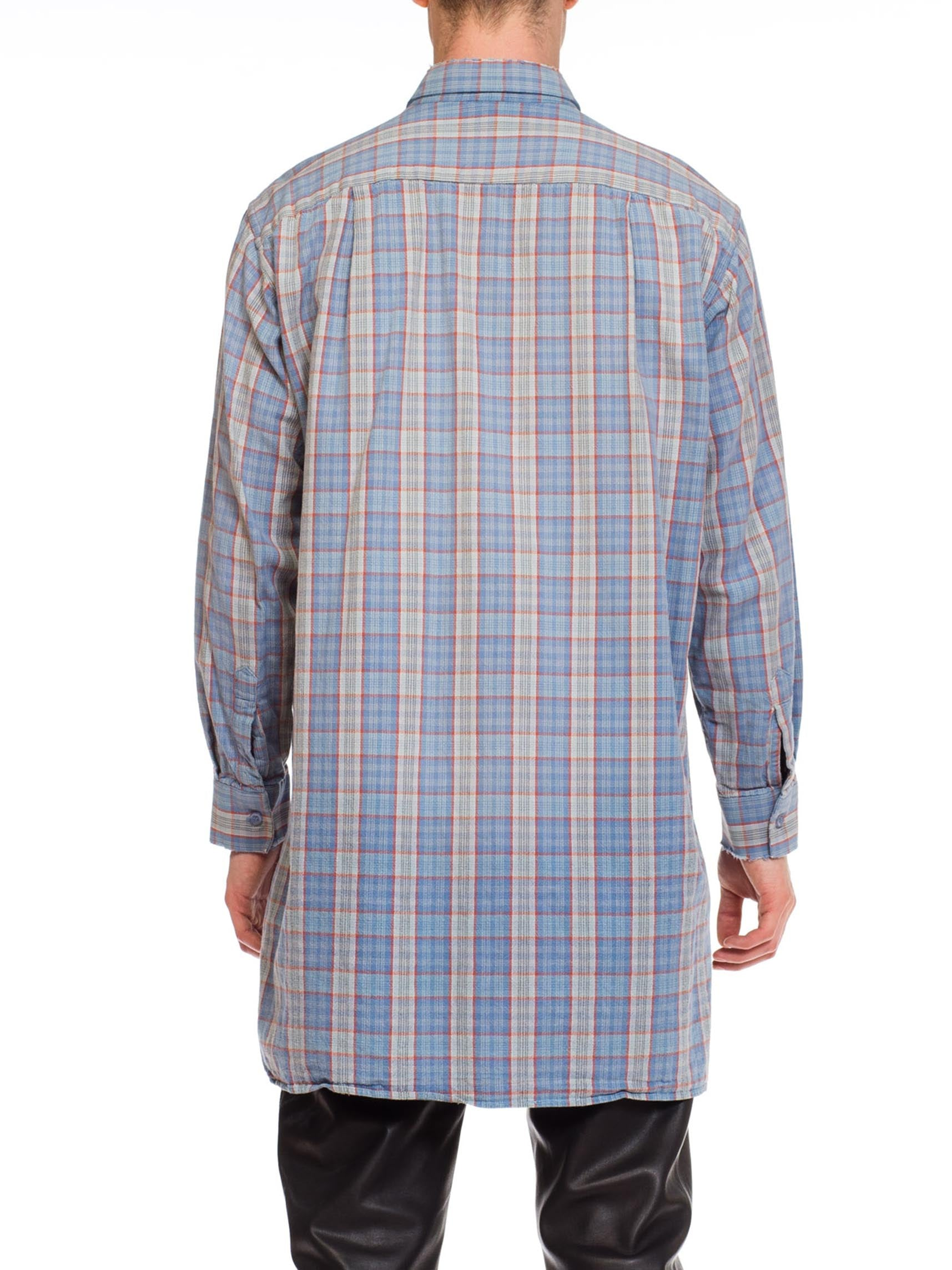 1950S Blue Plaid Cotton Men's Tunic Shirt