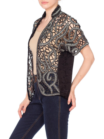 1980S Black & Silver Rayon Embroidered Beaded Metallic Lace Jacket Top
