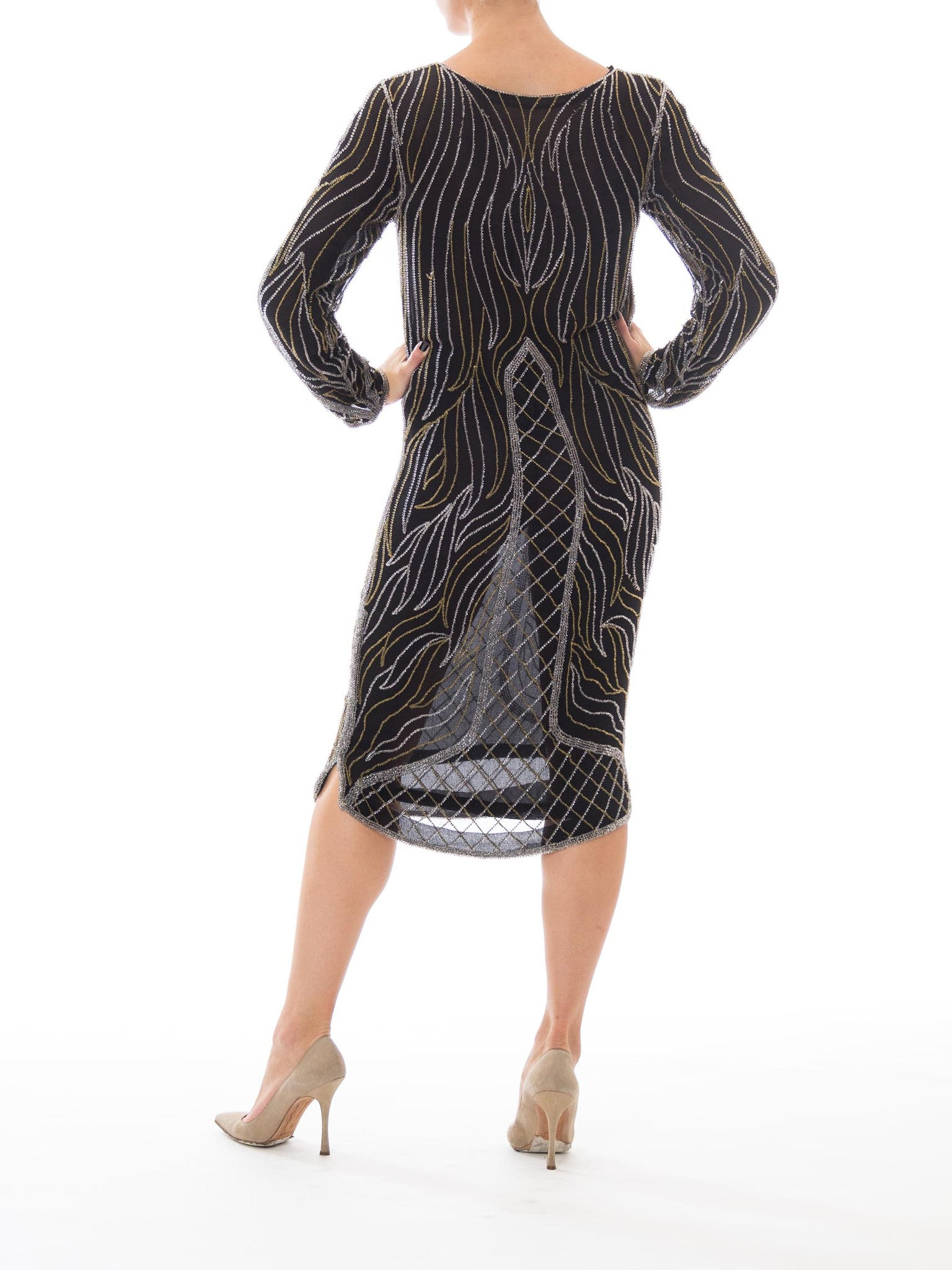 1980S Black Silk Mousseline Long Sleeve 1920S Style Deco Gold & Silver Beaded Cocktail Dress