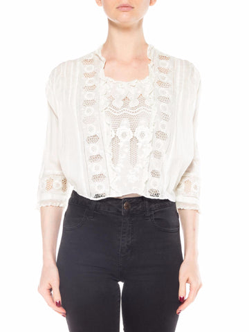 Edwardian White Lace Top with Floral Embroidery