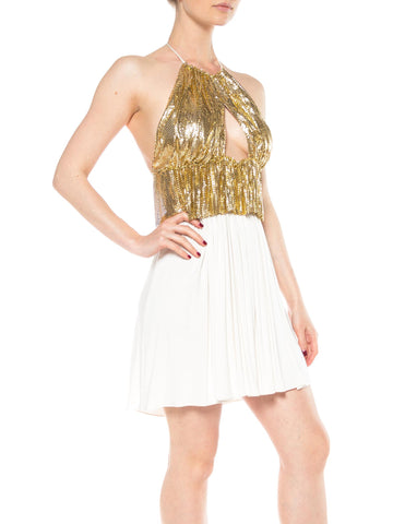 MORPHEW COLLECTION Gold Metal Mesh & Cream Rayon Jersey Halter Dress