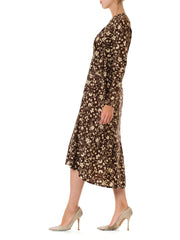 1920s Two-Tone Floral Printed Long Sleeve Silk Dress
