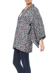 Blue and Purple Leaf Print Kimono