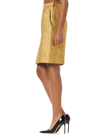 1980S YVES SAINT LAURENT Gold Lamé Pencil Skirt