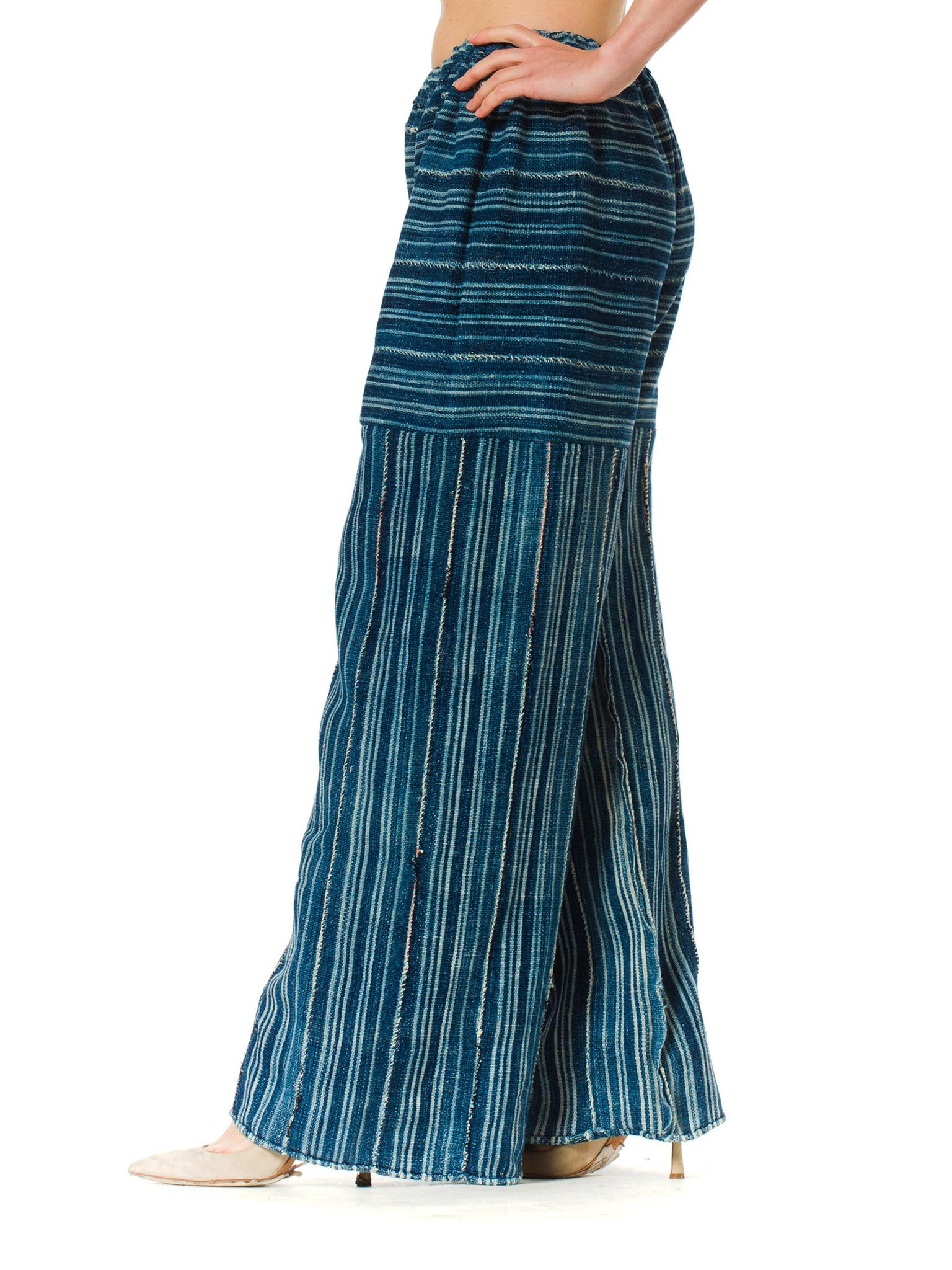 Morphew Collection Indigo Blue Cotton Summer Palazzo Pants Made Of African Hand Woven Fabric