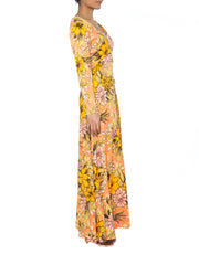 1960s Orange Long Floral Print Dress