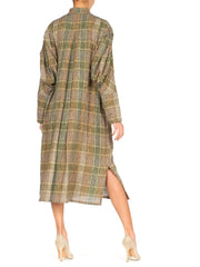 Issey Miyake Plaid Wool Flannel Pleated Sleeve Tunic Dress