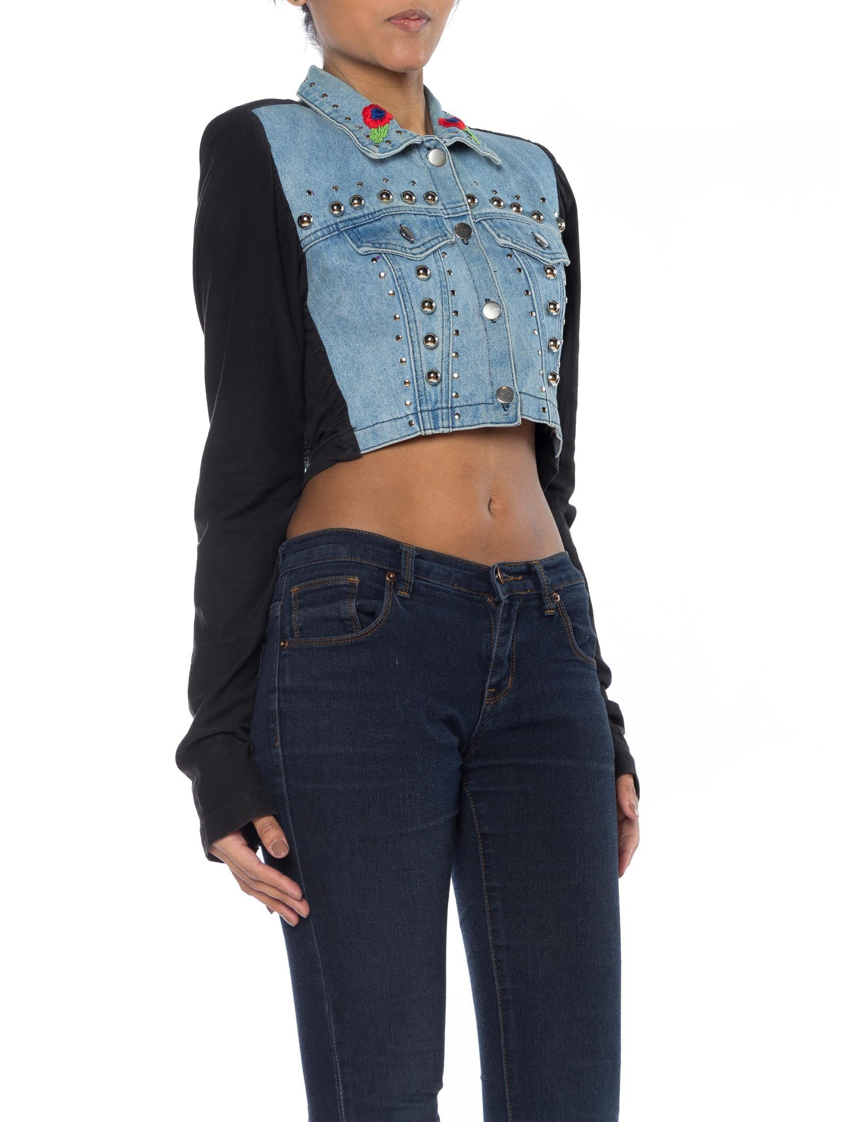 MORPHEW COLLECTION Cotton Chrome Studded Denim Jacket With Embroidery & Beaded Bird  Patch