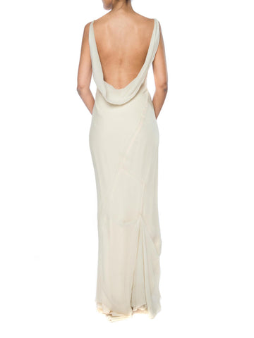 1990S DANES Ivory Silk Chiffon Bias Cut Backless 1930S Style Gown