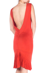 Alaia Coral Colored Slinky Dress With Pleating And Open Back