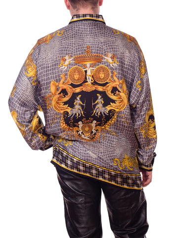 1990S GIANNI VERSACE Black & Grey Silk Twill Men's Gold Baroque Printed Shirt