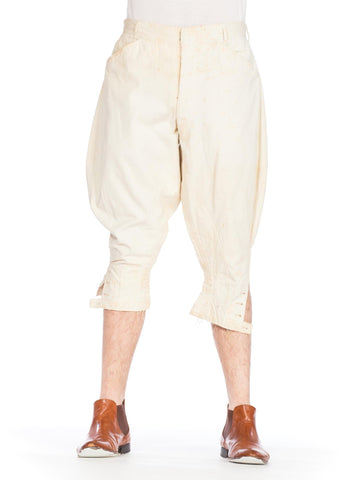 Victorian Cream Cotton Men's Antique Equestrian Riding Pants