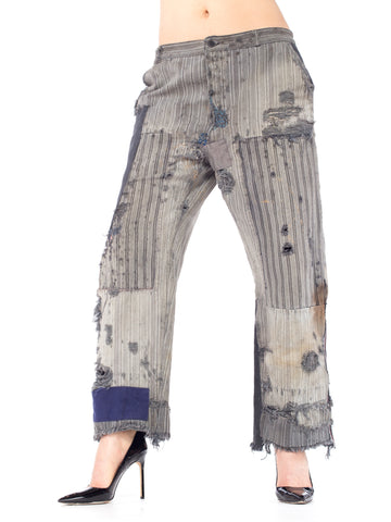 1940S Grey Cotton Railroad Stripe Men's Patched Distressed Workwear Pants