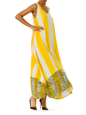 1980s Animal Leopard Printed Yellow Sleeveless Summer Maxi Dress