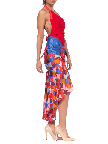 MORPHEW COLLECTION Red & Blue Silk Lace Dress With Zippers Snakeskin Detailing