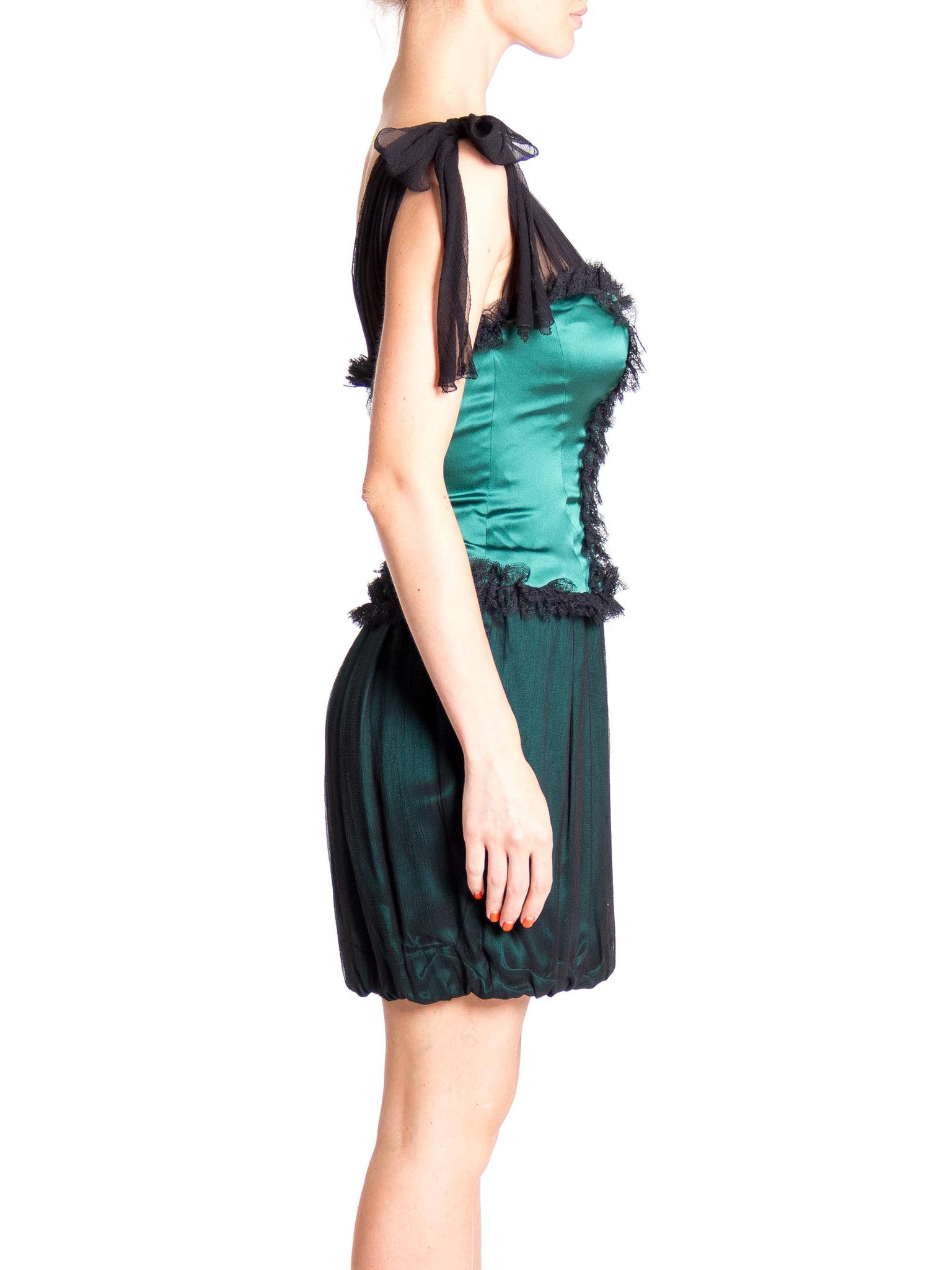 2000S Emerald Green & Black Silk Charmeuse Chiffon Victorian Inspired Bubble Skirt Cocktail Dress