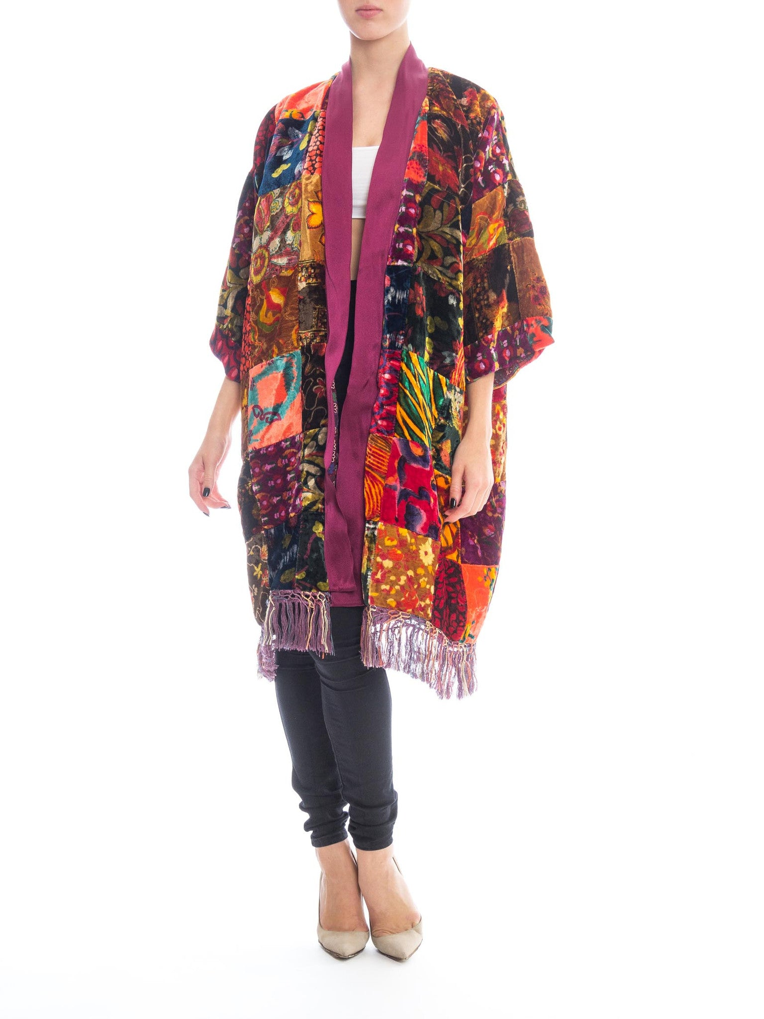 Morphew Collection Jeweltone Rayon & Silk Velvet Vintage 70S Patchwork Kimono Lined In 40S With 20S Fringe