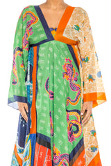 1970S Asian Dragon Patchwork Scarf Maxi Dress