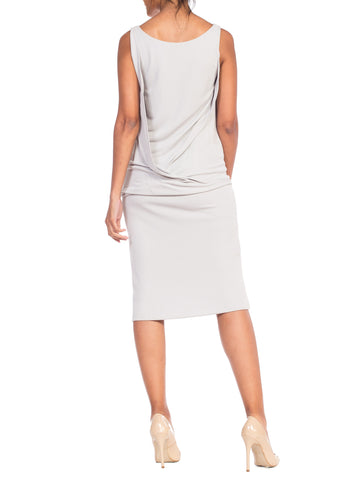 2000S CALVIN KLEIN Collection Grey Rayon Jersey Cocktail Dress