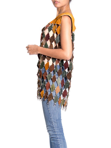 1960'S Or 1970S Hippie Era Multicolored Leather Diamond Cut Studded Vest