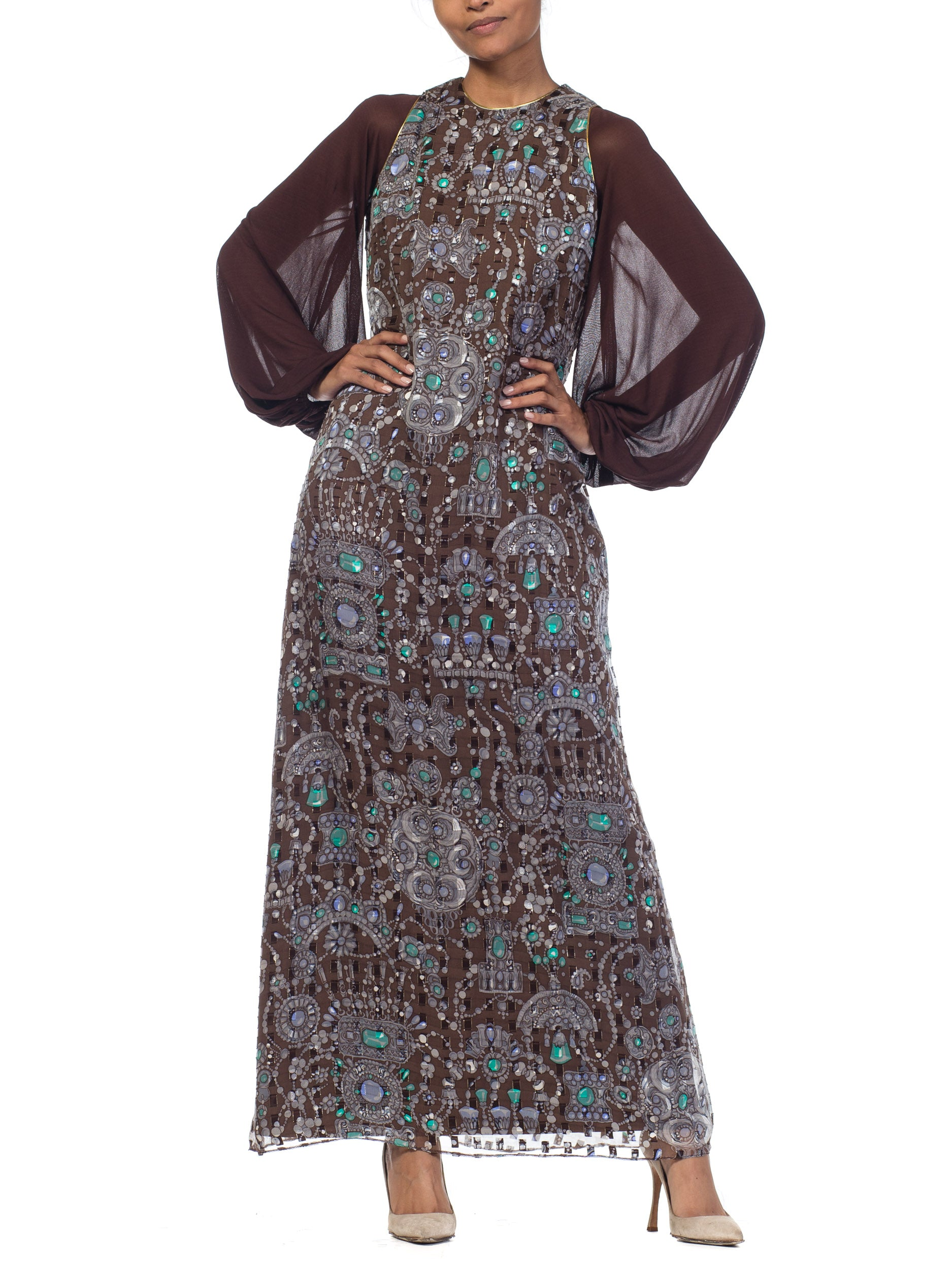 1970S Chocolate Brown Silk & Lurex Fil Coupé Helen Couture Dress With Chiffon Jersey Balloon Sleeves