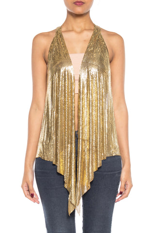 Slinky Gold Vest made from Vintage Metal Mesh