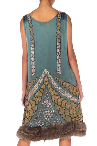 1920S Teal Silk Charmeuse  Deco Beaded Cocktail Dress With Fur Hem & Lamé Shawl
