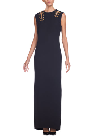 Gianni Versace Black Gold Saftey Pin Gown