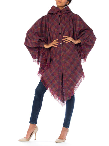 Missoni Multicolored Plaid Hooded Cape Fringed Poncho