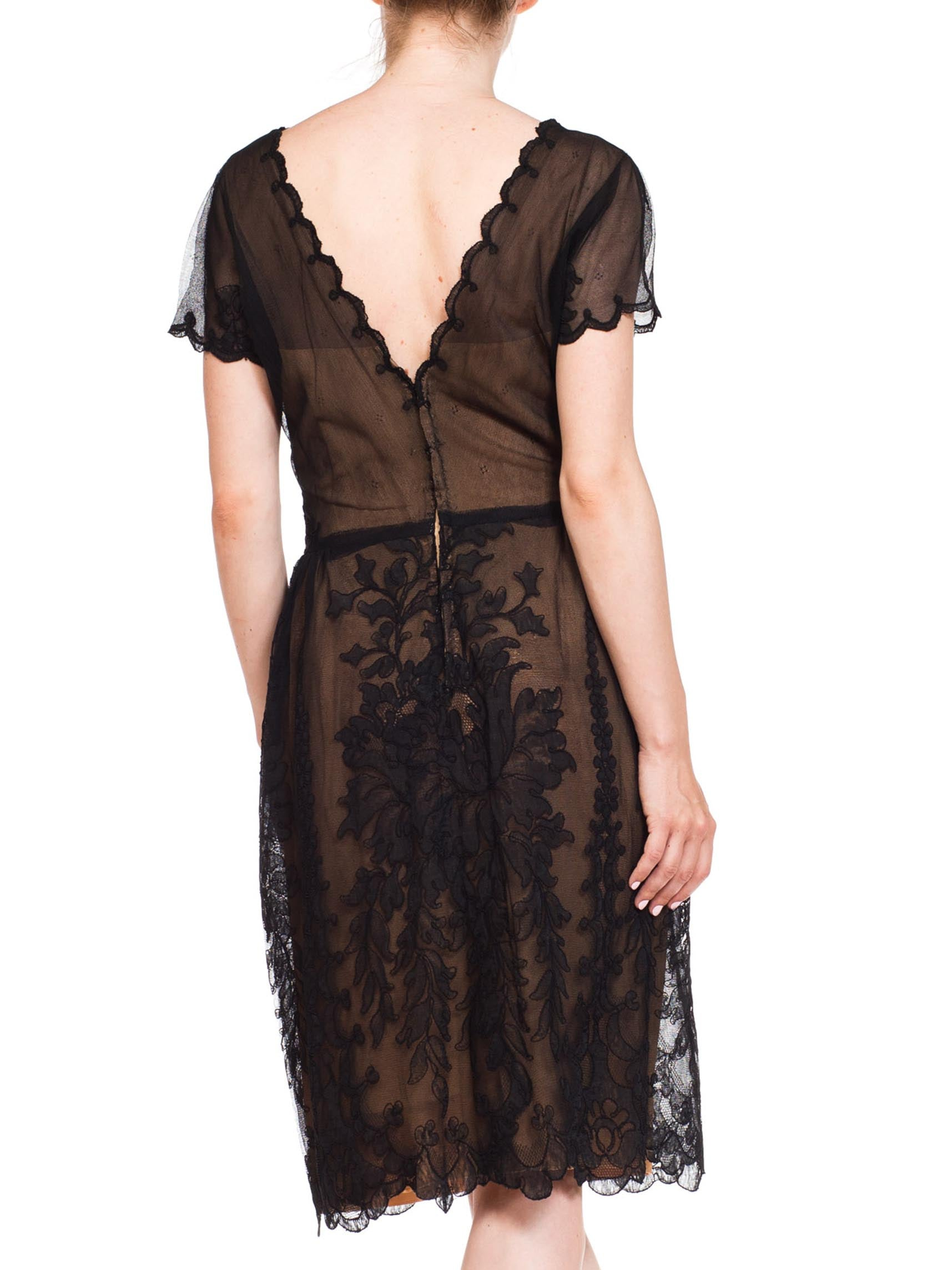 1950S IRENE FOR BULLOKS WILSHIRE Black Silk & Rayon Fine Lace Cocktail Dress