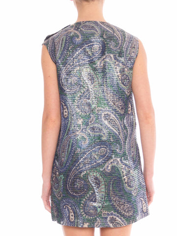 1960 Mini Vest Paisley Print With Metalic Silver Lurex Material