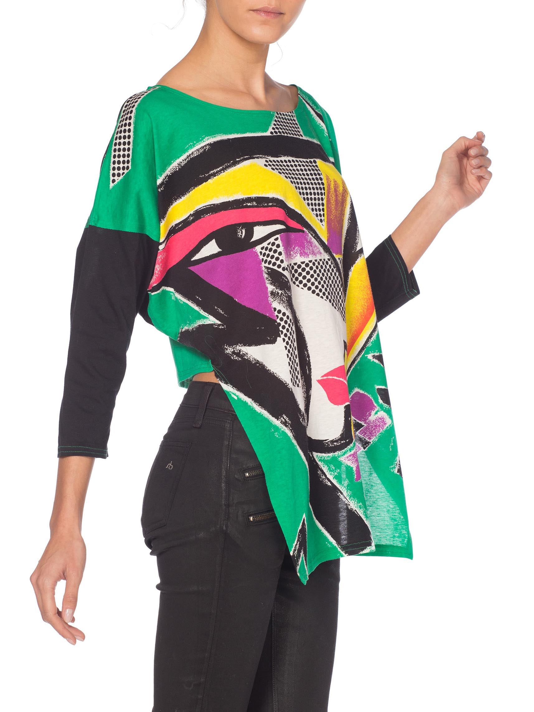 1980S KANSAI YAMAMOTO Green Asymmetrical Abstract Face Print Top With Cropped Back