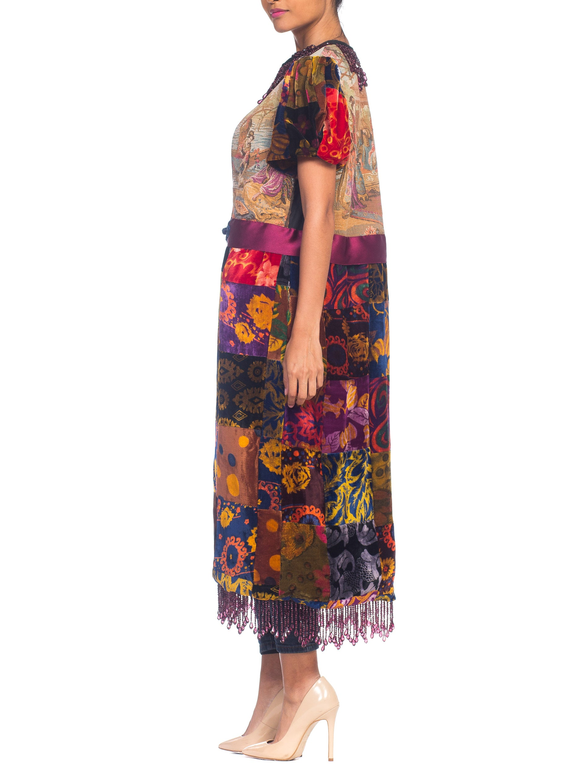 Morphew Collection 1970S Patchwork Velvet & Japanese Musicians Tapestry Duster With Beaded Fringe