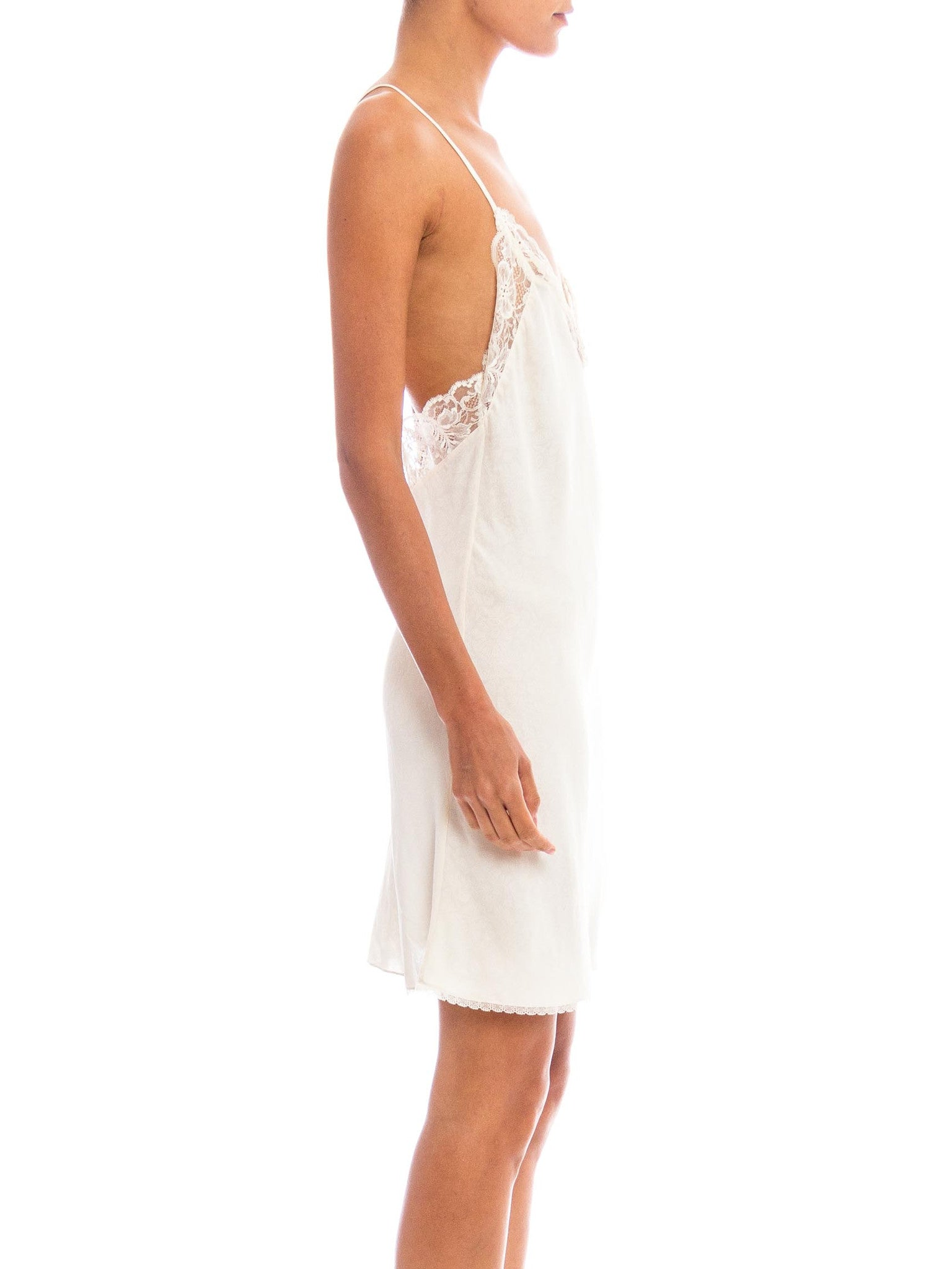 1980S GIANNI VERSACE White Bias Cut Silk & Lace Loosely Paisley Printed Slip Dress