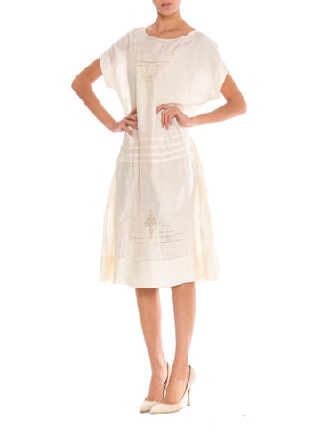 1920S Ivory Silk Dress With Exceptional Hand Embrooidery