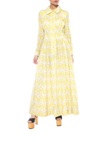 Yellow And White Daisy Embroidered Maxi Dress