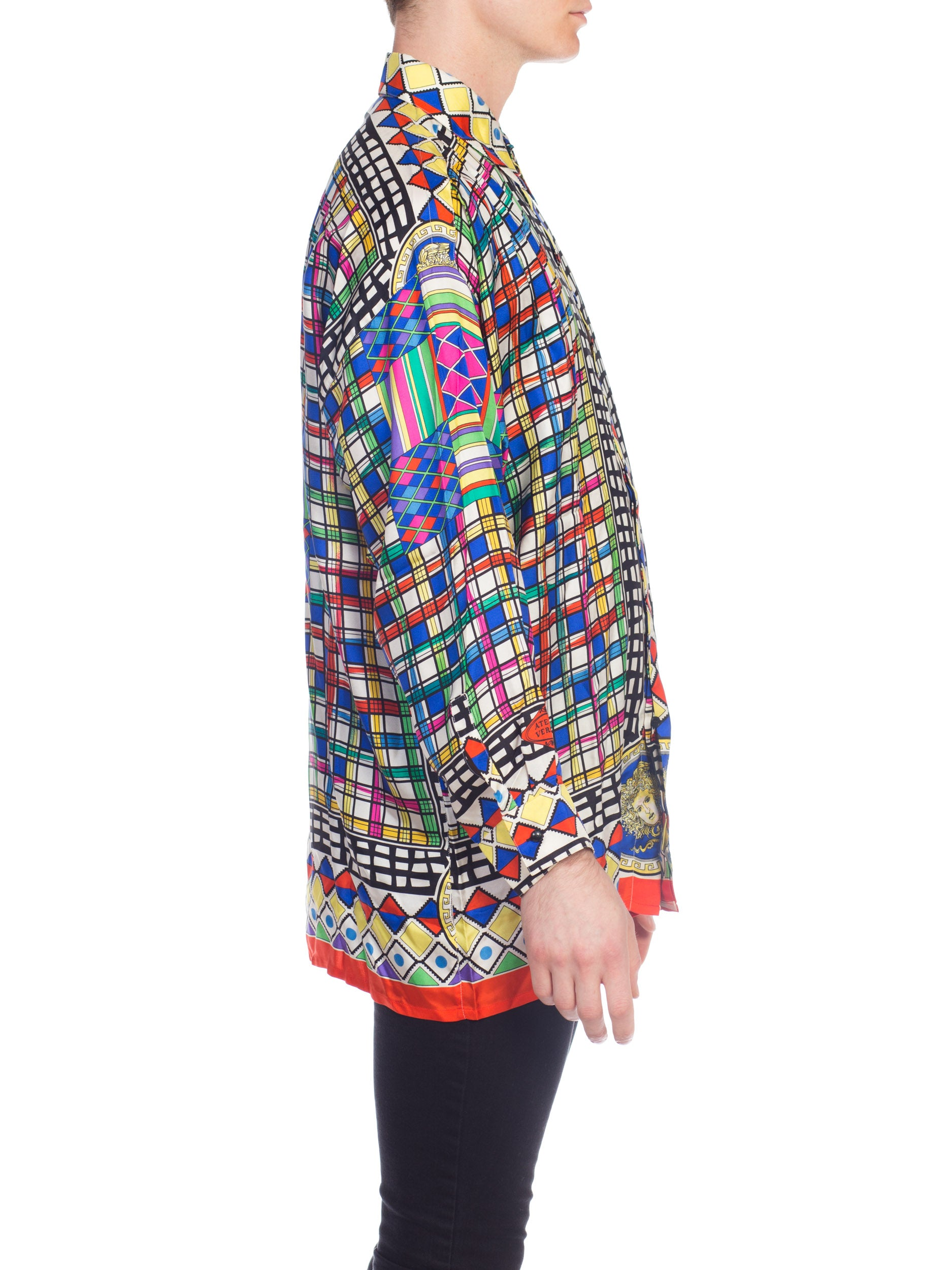 1990S Gianni Versace Multicolor Geometric Silk Men's Shirt Sz 50