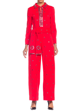 1960s Bright Crimson Metal Studded Disco Jumpsuit