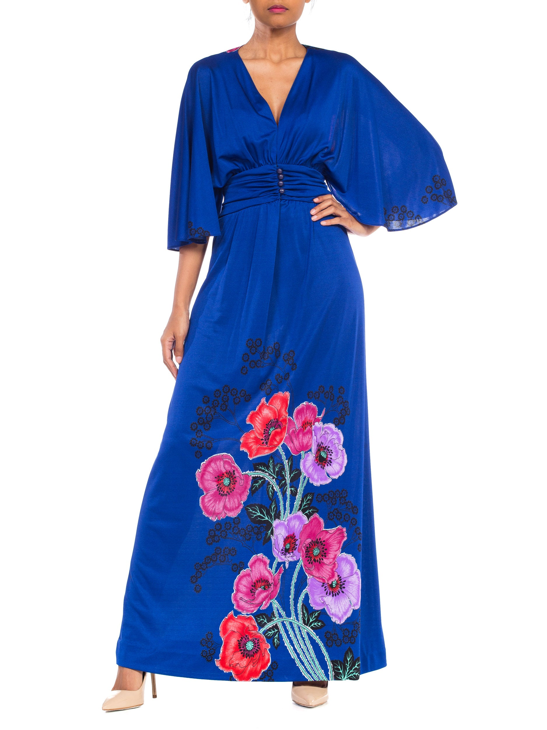 1970s Slinky Jersey Giorgio Beverly Hills Blue Floral Disco Gown