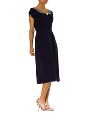 1940s Crepe Short Sleeve Navy Day Dress