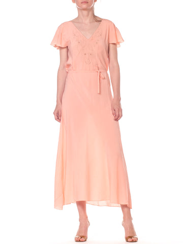Peach Short Sleeve Silk 1930s Negligee Slip Dress with Embroidery