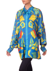 Gianni Versace Blue Flag Print Silk Shirt