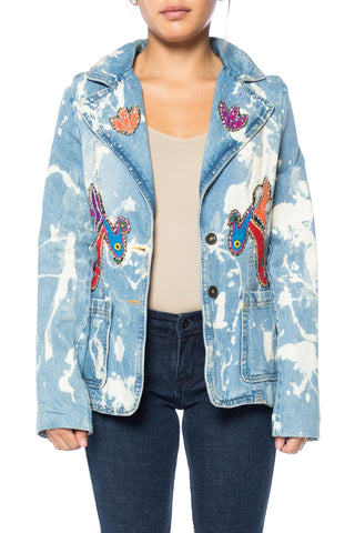 Denim Blazer With Bleach Details And Bird Applique