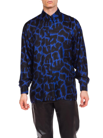 1990s Men's Istante Versace Blue Leopard Silk Shirt