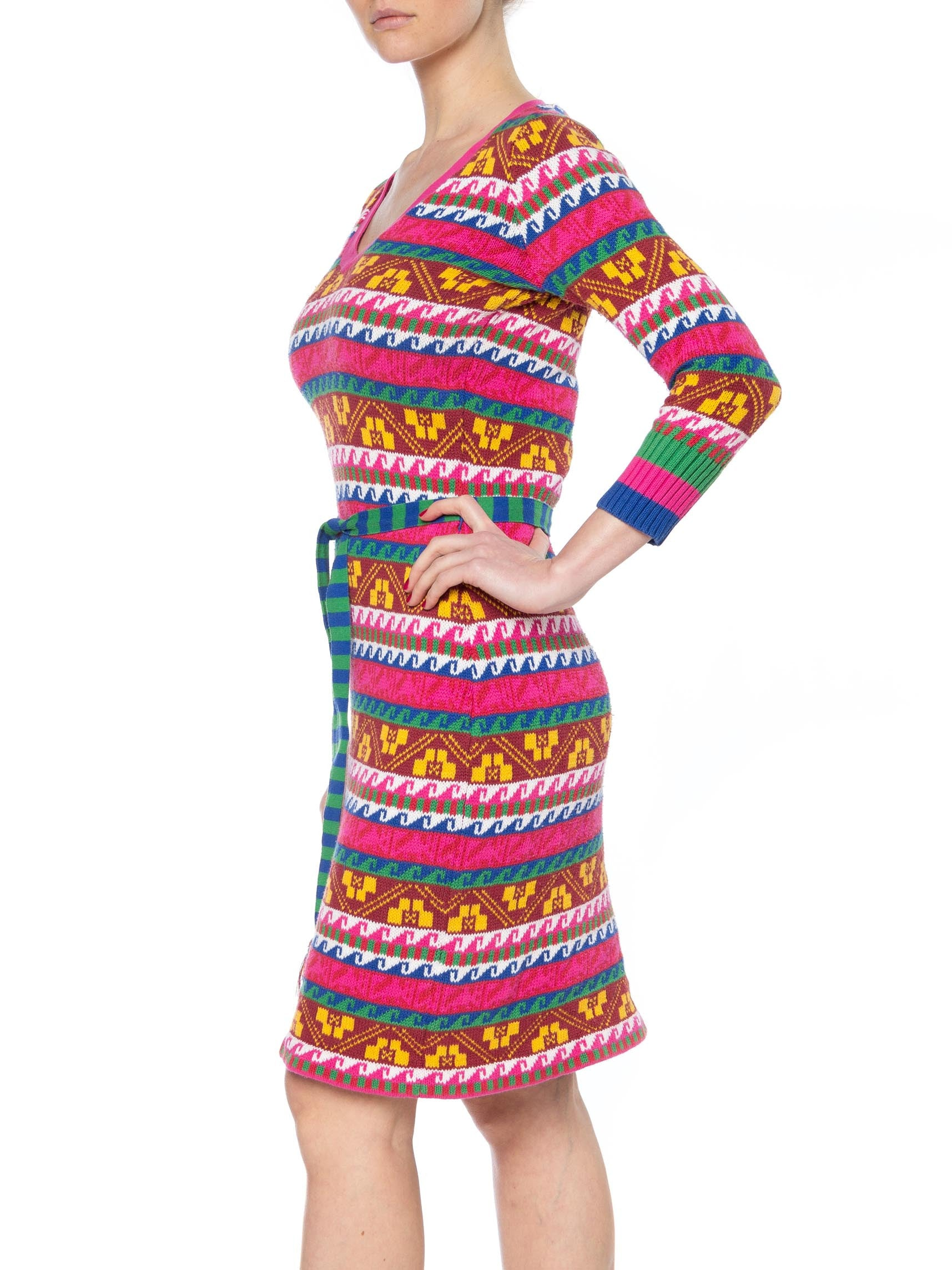 1990S BETSEY JOHNSON Multicolor Striped Cotton Sweater Dress With Belt