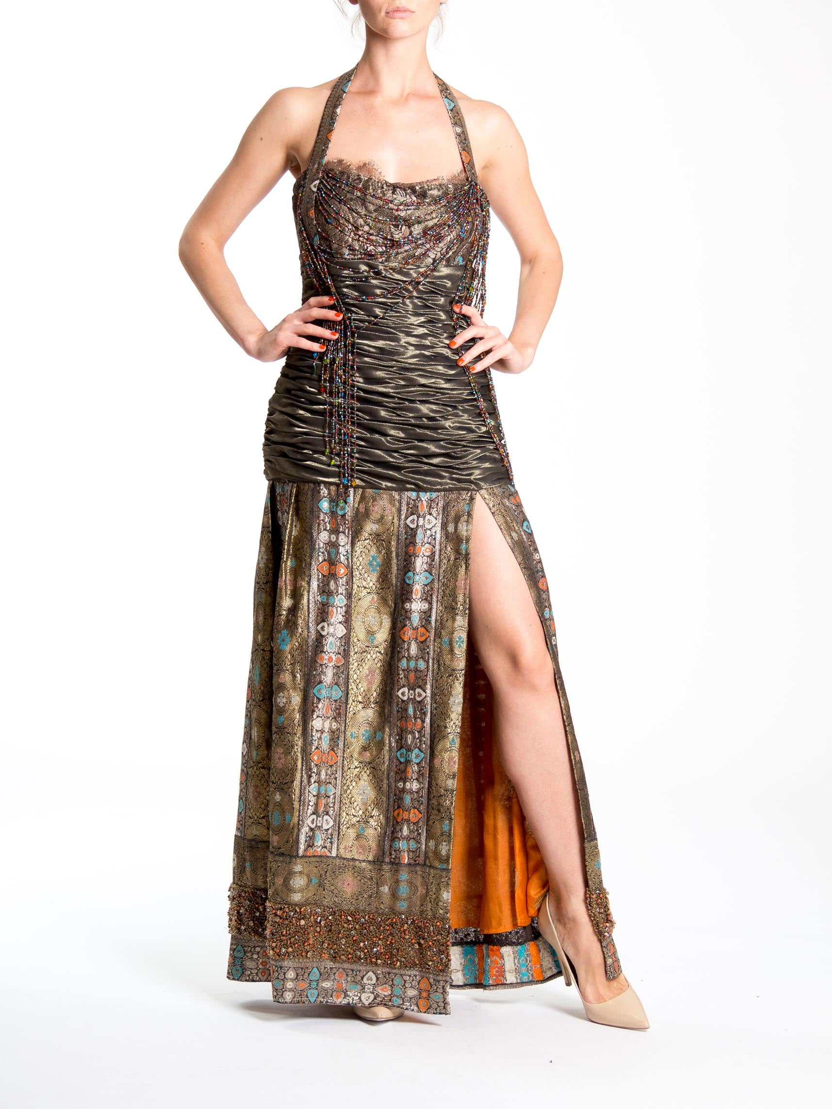 MORPHEW COLLECTION Haute Couture Beaded Gown With High Slit Made From Antique Indian Sari Silk Woven Metal Fibers