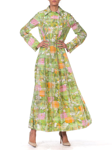 1960S Preppy Mod Floral Print Pleated Maxi Dress With Pink Crystal Buttons & Hidden Pockets!